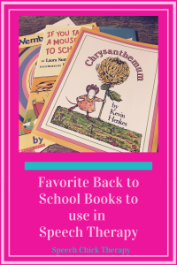 Back to School Books to use In speech therapy